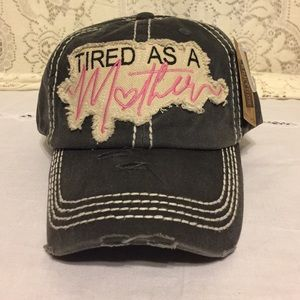 TIRED AS A MOTHER Distressed Baseball Cap Black